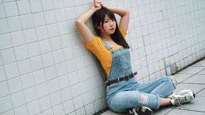 Asian Model Women Long Hair Dark Hair Women Outdoors Jeans Dresses Yellow Shirt Sitting Legs Crossed 1920x1280 Wallpaper