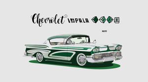 Artistic Car Chevrolet Chevrolet Impala Classic Car Digital Art Green Car Vintage 3000x1688 Wallpaper