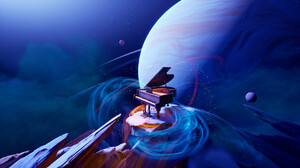 Artwork Space Planet Piano Abstract 1920x1080 Wallpaper