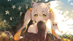 Anime Anime Girls Green Eyes Sunlight Flowers Plants Looking At Viewer Long Hair Twintails Blonde An 3500x1346 Wallpaper