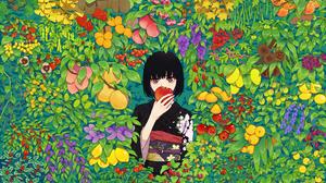 Fruit Kimono Nature Brown Eyes Black Hair Japanese Clothes Short Hair Anime Girls 2372x1421 Wallpaper