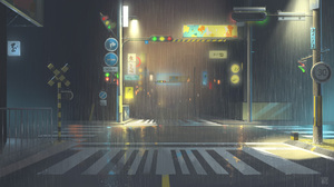 LV Digital Art Background Art Night Light Effects Rain Street Traffic Lights Reflection 1920x1080 Wallpaper