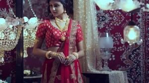 Brunette Girl Hair Indian Jewelry Makeup Model Sari Traditional Costume 2800x1867 Wallpaper