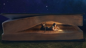 Book Flashlight Girl Reading Woman 1920x1080 wallpaper