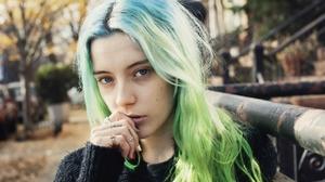 Chloe Norgaard Women Model Young Woman Long Hair Danish Women Outdoors Urban Blue Hair Green Hair 1280x853 Wallpaper
