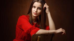 Sergey Sergeev Women Brunette Brown Eyes Looking At Viewer Dress Red Clothing Dots Chair 1920x1372 Wallpaper