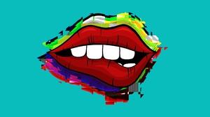 Lips Red Glitch Art Teeth Women Comic Art Simple 1920x1080 Wallpaper