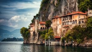 Italy Lake Lake Maggiore Lombardy Rock 2500x1608 Wallpaper
