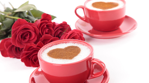 Coffee Cup Heart Shaped Red Flower Rose Still Life 5616x3744 wallpaper