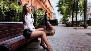 Aleksandr Bui Olga Demidova Model Women Brunette Blue Eyes Mouth Lips Lipstick Shirt White Shirt Ski 2560x1913 Wallpaper
