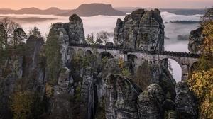 Bastei Bridge Landscape Mountain Nature Rock Forest Elbe Sandstone Mountains 3840x2160 Wallpaper