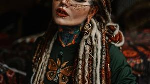 Women Model Long Hair Dreadlocks Dyed Hair Lipstick Red Lipstick Eyelashes Makeup Looking At Viewer  1080x1342 Wallpaper