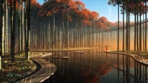 Artwork Digital Art Trees River Nature 1920x1080 Wallpaper