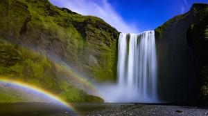 Cliff Nature Rainbow Waterfall 2560x1600 Wallpaper