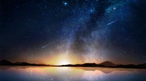 Reflection Shooting Star Starry Sky 2560x1937 wallpaper