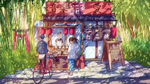 Christian Benavides Digital Art Fantasy Art Bikes Asian Architecture Rice Balls Bamboo 3840x2160 Wallpaper