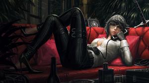 Digital Art Bad Guys Women Telephone GUWEiZ Black High Heels Women With Swords Short Hair Black Glov 1800x1179 Wallpaper