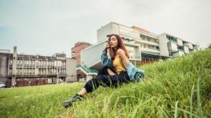 Asian Women Model Long Hair Brunette Grass Sitting Black Pants Depth Of Field Yellow Shirt Jeans Jac 3840x2561 wallpaper
