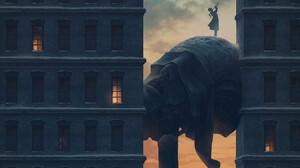 Digital Art Fantasy Art Alexey Egorov Trumpet Sunrise 1351x900 wallpaper