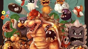 Bob Omb Bowser Bullet Bill Chain Chomp Goomba Koopa Troopa Piranha Plant Shy Guy 1280x1024 Wallpaper