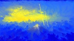 BisBiswas Mountains Clouds Sunrise Rocket Digital Art 1920x1080 Wallpaper