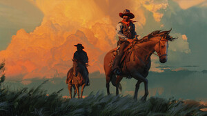Jama Jurabaev Painting Men Cowboys Cowboy Hats Horse Scarf Wind Western Grass Clouds 3839x1758 Wallpaper