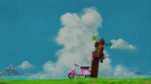 Studio Ghibli Motorcycle Sky Landscape Painting Mountains Lake Colorful Anime Animated Movies Vehicl 1732x974 Wallpaper