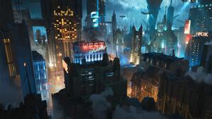 City Dystopian Concept Art Victorian 3840x1634 Wallpaper
