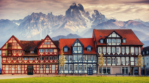 Building Sky Mountains House Green Grass Colorful City Europe 4000x2709 Wallpaper