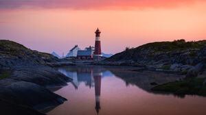 Dag Ole Nordhaug Landscape Purple Sky Sky Lighthouse House Water Reflection 2040x1530 Wallpaper