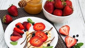 Berry Blueberry Breakfast Crepe Fruit Honey Still Life Strawberry 2665x2132 Wallpaper