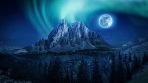 Aurora Borealis Full Moon Mountain Night 3840x2160 Wallpaper