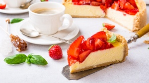 Berry Cheesecake Coffee Cup Dessert Fruit Pastry Still Life Strawberry 5760x3840 Wallpaper