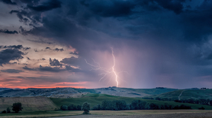 Landscape Lightning Storm Clouds Nature Horizon Sunset Trees Hills Sky 1920x1080 Wallpaper