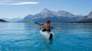 Blonde Canoe Hat Kayak Lake Mountain Woman 5039x3359 wallpaper