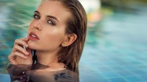 Natalia Magicka Christine Machover Model Women Blonde Blue Eyes Parted Lips Finger On Lips Tattoo We 2500x1668 Wallpaper