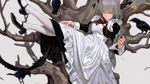 Anime Girls Original Characters Raven Maid Outfit Cat Girl Nekomimi Monster Girl Braided Hair Black  1414x1000 Wallpaper