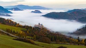 Landscape Forest Mist Fall 5120x1440 Wallpaper