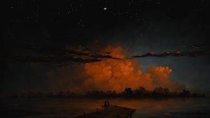 Digital Painting Landscape Couple Sky Clouds Nightscape Lake Moon BisBiswas 1920x1080 Wallpaper
