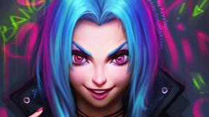 Blue Hair Face Girl Jinx League Of Legends League Of Legends Pink Eyes 3000x1687 Wallpaper
