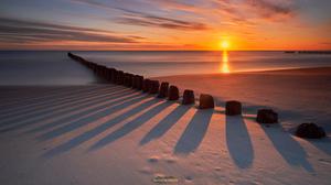 Nature Landscape Winter Snow Sea Roman Hudzik Horizon Sunrise Shadow Beach Sand 1500x998 Wallpaper