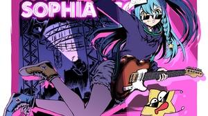Blue Eyes Blue Hair Braid Girl Guitar Heterochromia Long Hair Pantyhose Shorts Smile Sunglasses Virt 2039x1447 Wallpaper