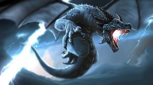 Dragon Lightning 3000x1464 wallpaper