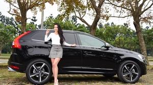 Woman Model Girl Asian Skirt Car Black Car Long Hair Black Hair Volvo 3000x2003 Wallpaper
