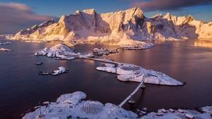 House Lofoten Islands Mountain Norway Reine Snow Winter 2048x1366 Wallpaper