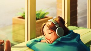 Peijin Yang Smiling By The Window Music Cup Coffee Tea Portrait Display Women Headphones Closed Eyes 1920x2720 Wallpaper