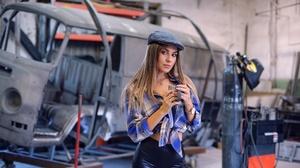 Brunette Depth Of Field Girl Hat Model Woman 2000x1335 wallpaper
