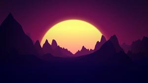 3D Night Sun Glowing Mountains Render Landscape Dark Artwork 3840x2160 Wallpaper