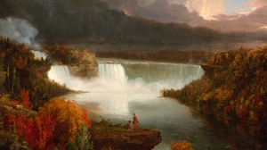 River Forest Painting Fall 3000x2324 Wallpaper