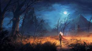 Castle Landscape Moon Night Path Sword White Hair Woman Warrior 3000x1688 Wallpaper